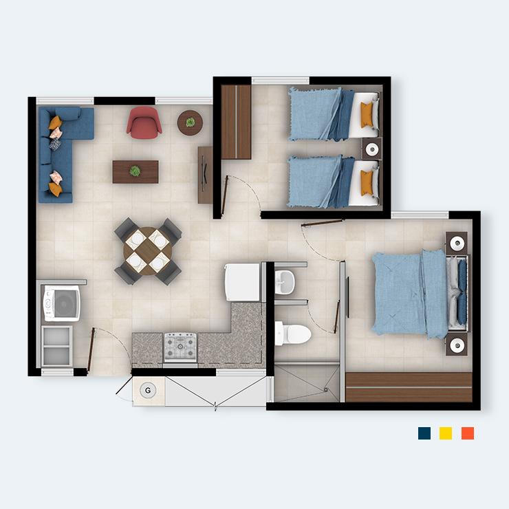 Apartamento 2H1